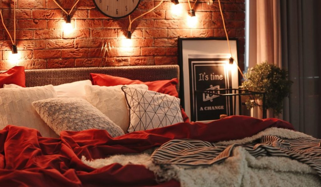 warm and cozy bed with dim lights